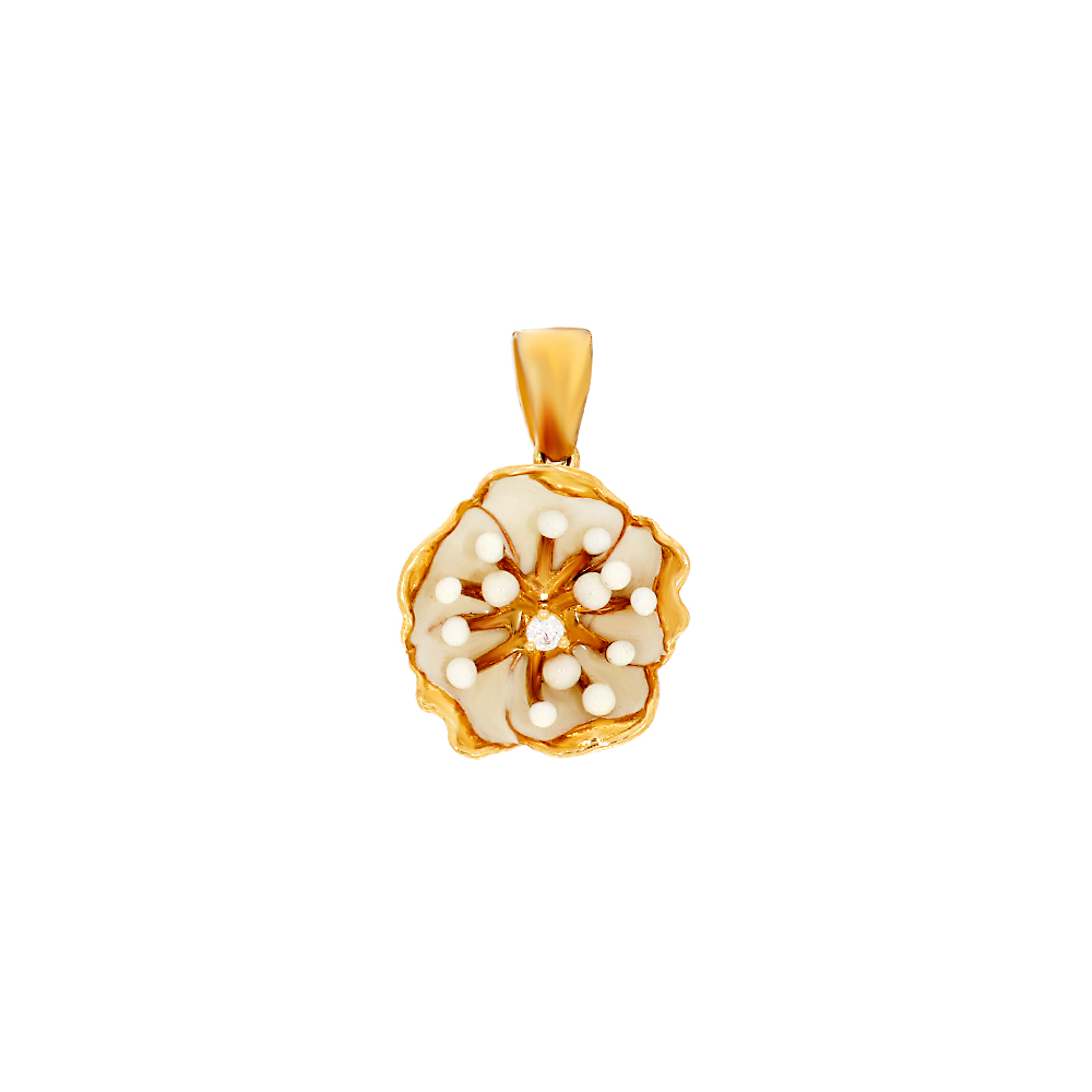 Blooming Floral Synthetic Mother Of Pearl Gold Pendant