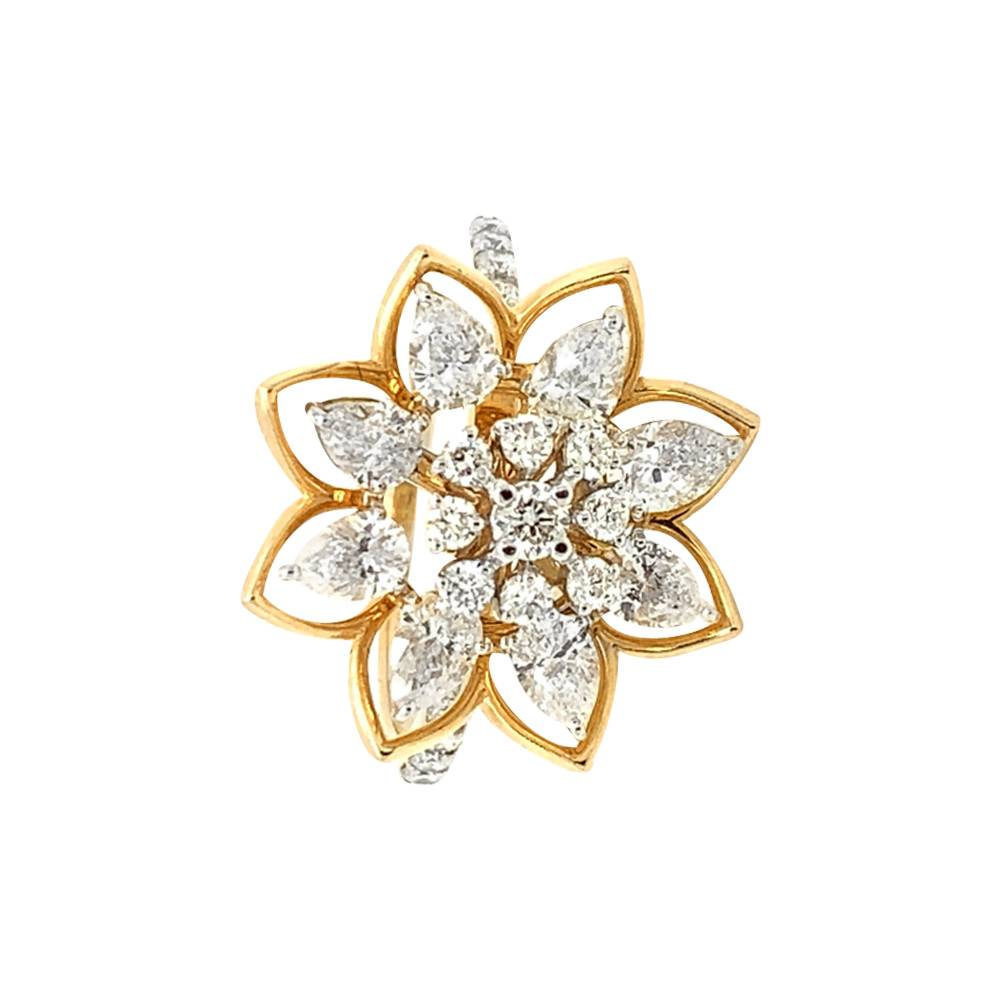 Sparkling Prong Set Pear Round Cut Floral Design Diamond Ring