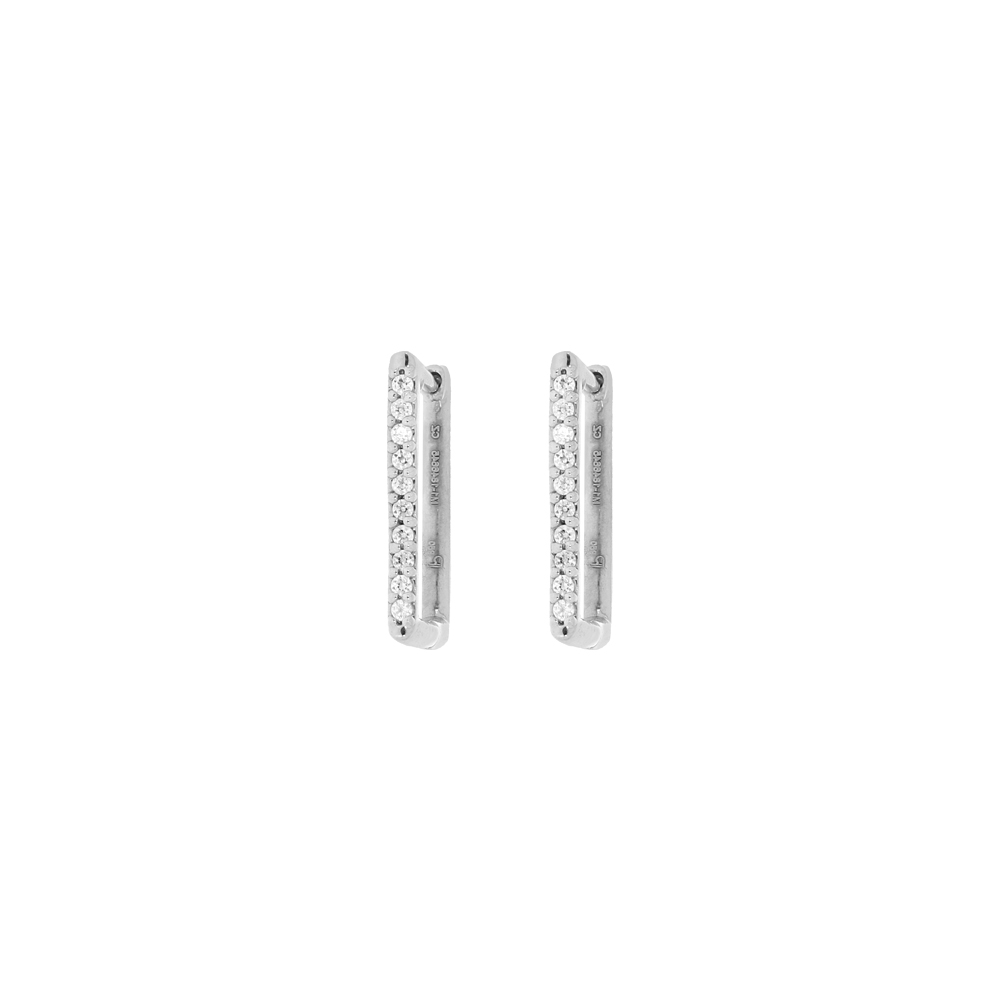 Stylish Single Line Swarovski Diamond Studded Platinum Earrings