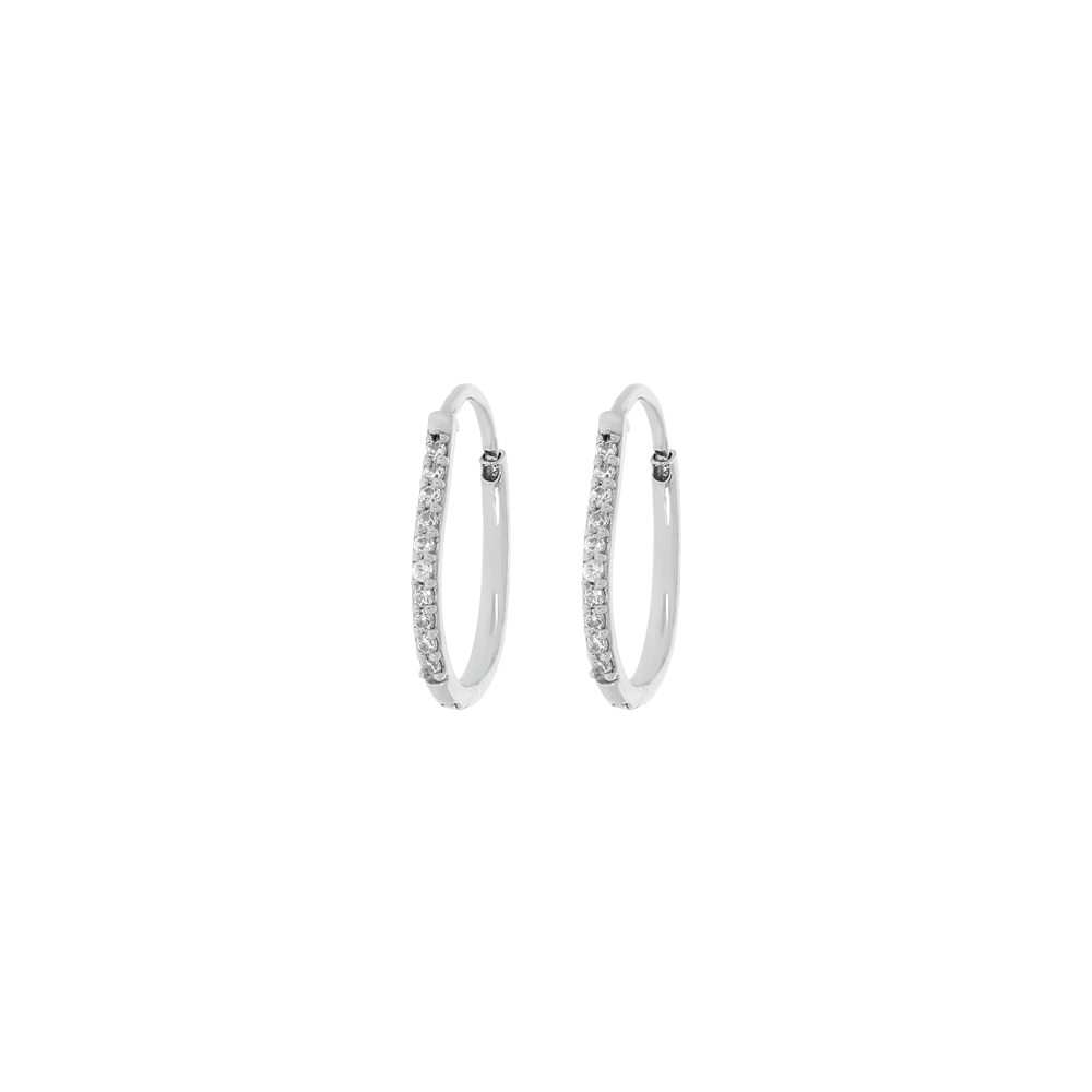 Elite Single Line Swarovski Diamond Studded Platinum Earrings For Her