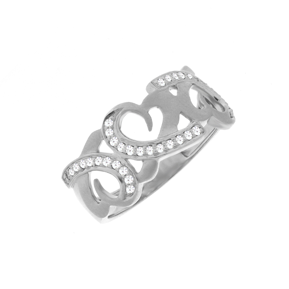 Enlighten Heart Platinum Swarovski Diamond Ring For Her
