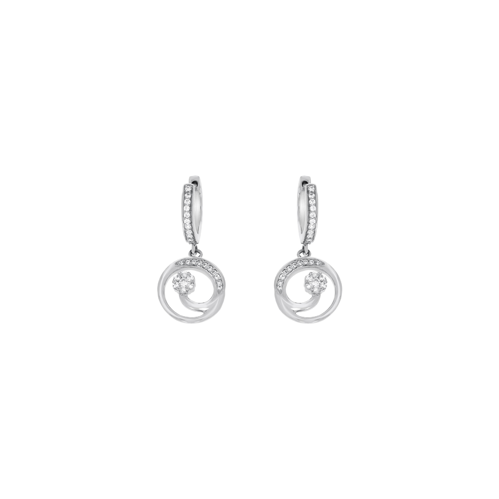 Elite Platinum Swarovski Diamond Hoop Earrings