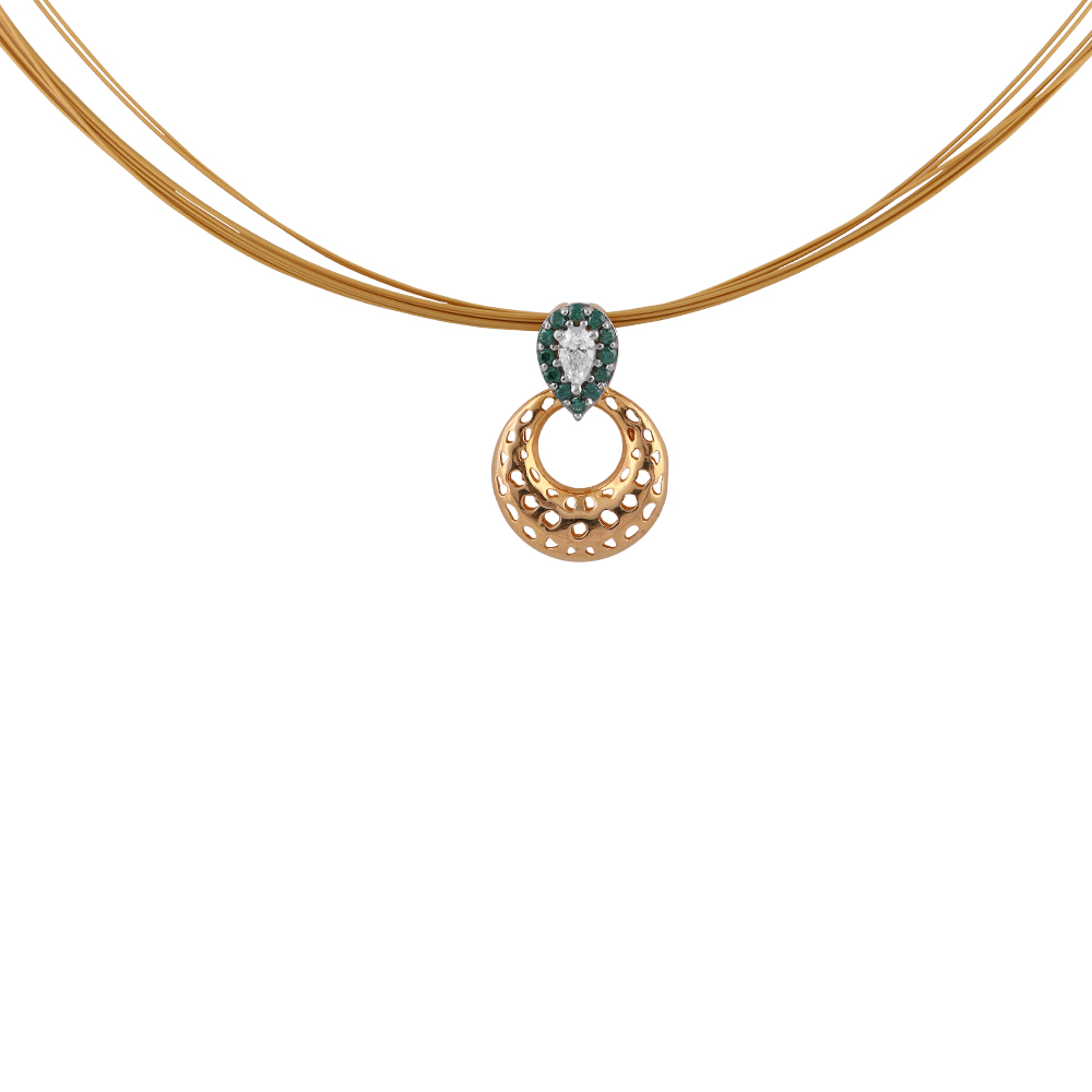 Cubic Zirconia - CZ Sets Glossy Glittering Green With CZ Stone Studded Circle Pendant Set  PS185_2.jpg