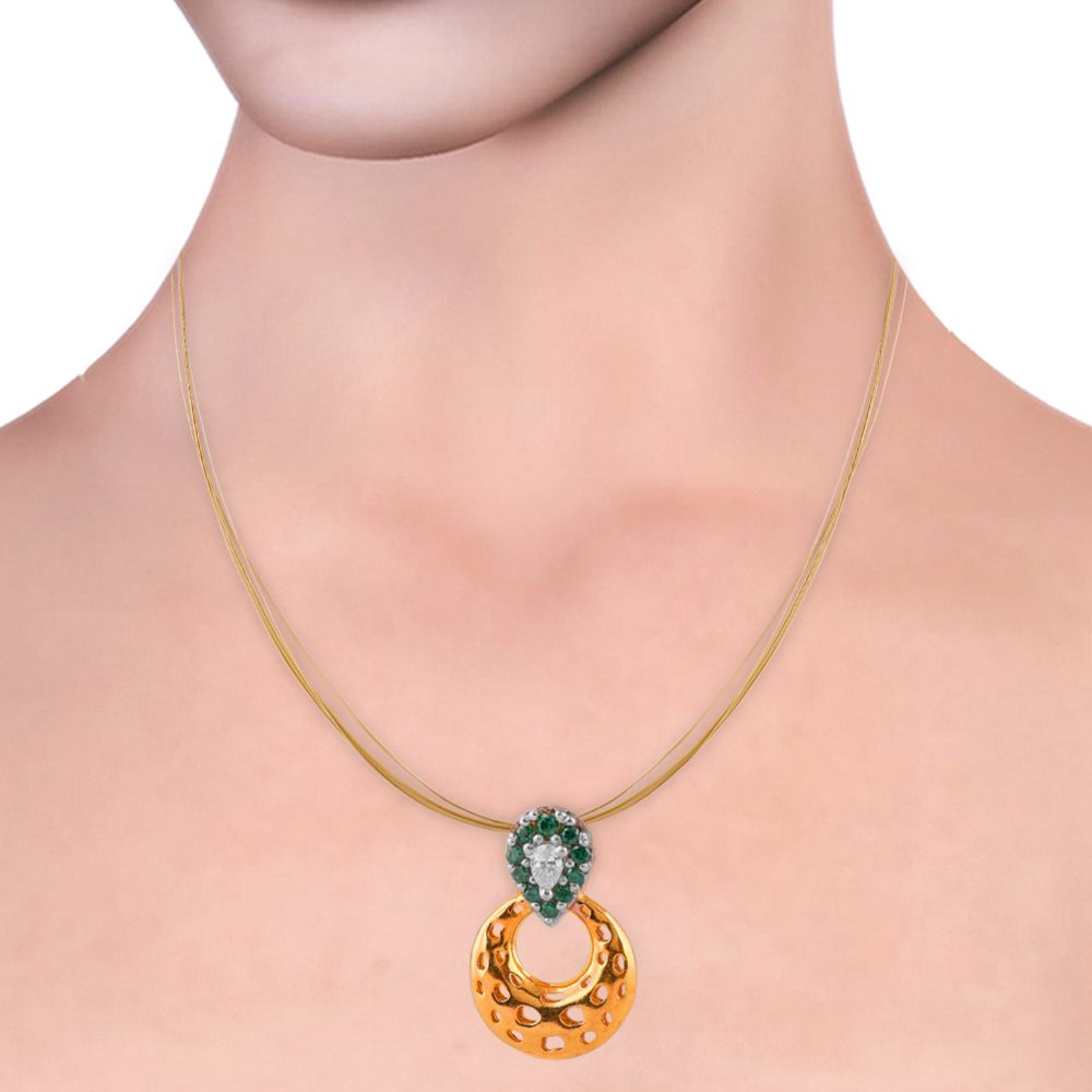 Cubic Zirconia - CZ Sets Glossy Glittering Green With CZ Stone Studded Circle Pendant Set  PS185_H.jpg