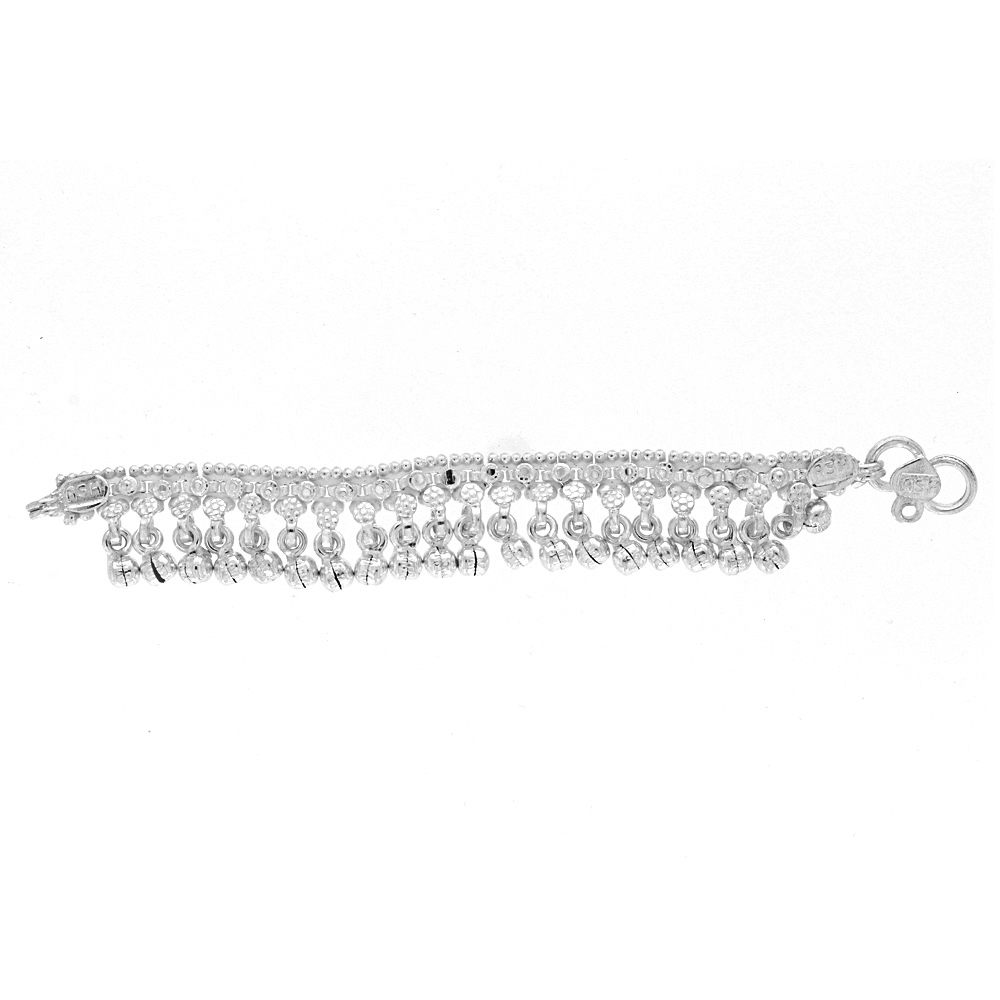 Silver Glossy Finish Daggling Beads Design Silver Anklet Payal11-1_2.jpg