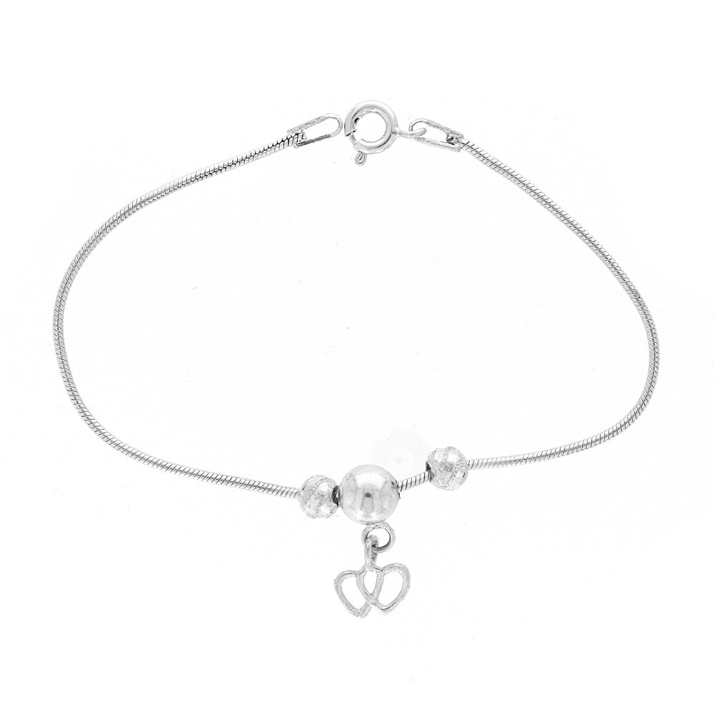 Silver Glossy Finish Plain Snake With Drop Dual Heart Design Silver Anklet Payal12-1_2.jpg