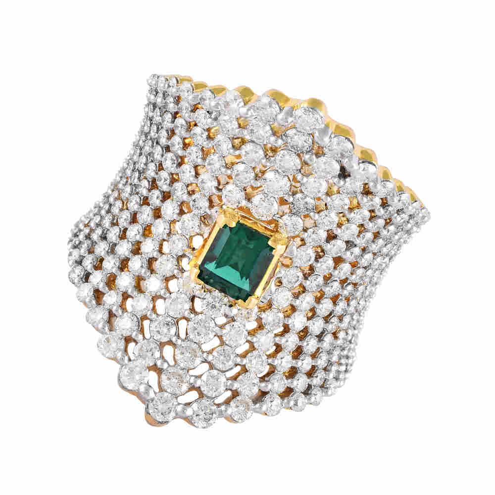 Glittering  Prong Set Bold Design With Colour Stone Studded Diamond Ring