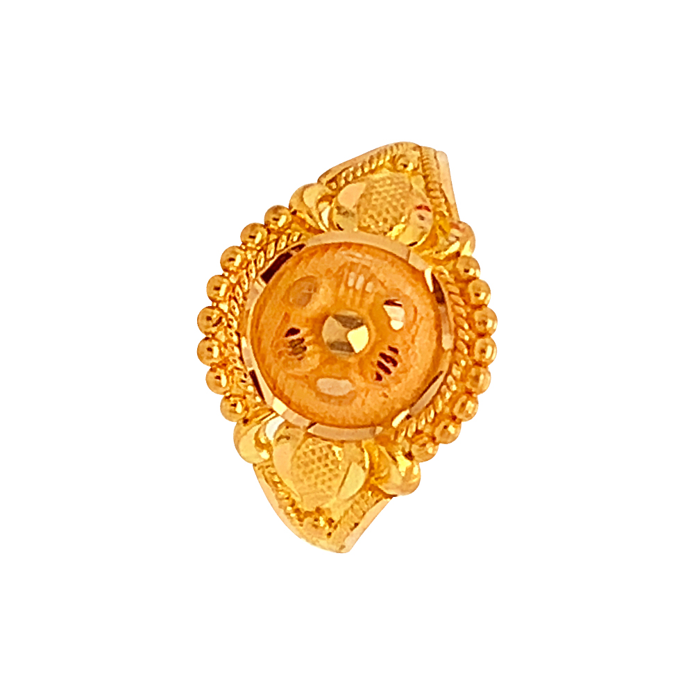 Traditional Textured Embossed Gold Ring
