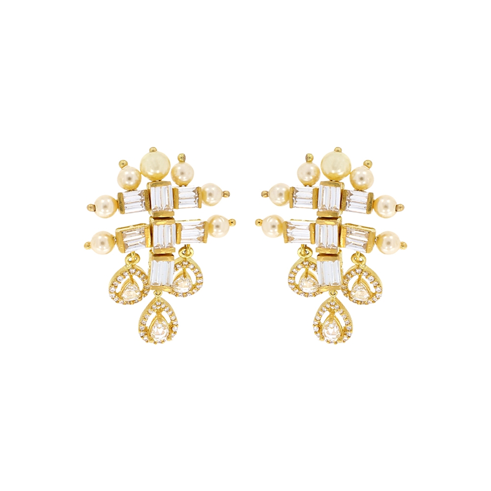 Sparkling Fancy Shapes Synthetic Pearl Studded Diamond Earrings