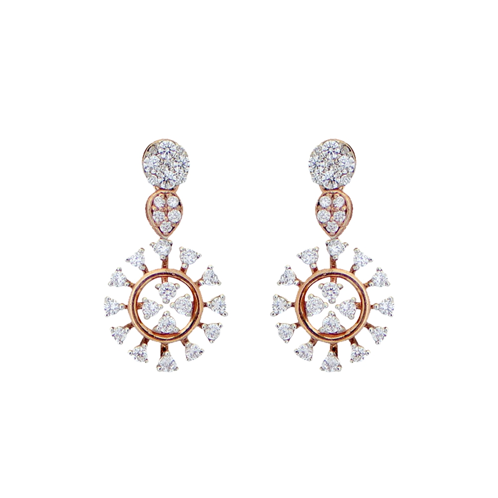 Sparkling Pave Prong Set Floral Dangler Diamond Earrings