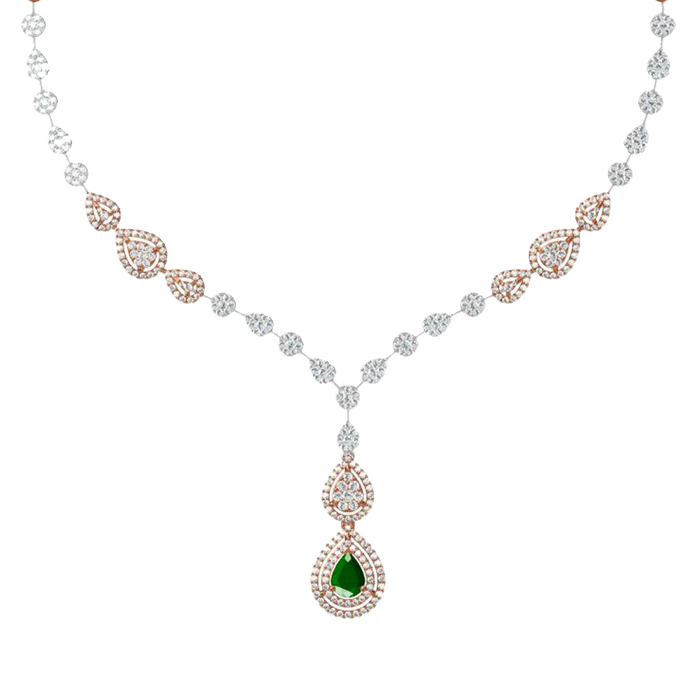 Gemstone Sizzling Drop Design With Synthetic Colour Stone Studded Diamond Necklace RBN00525-1.jpg