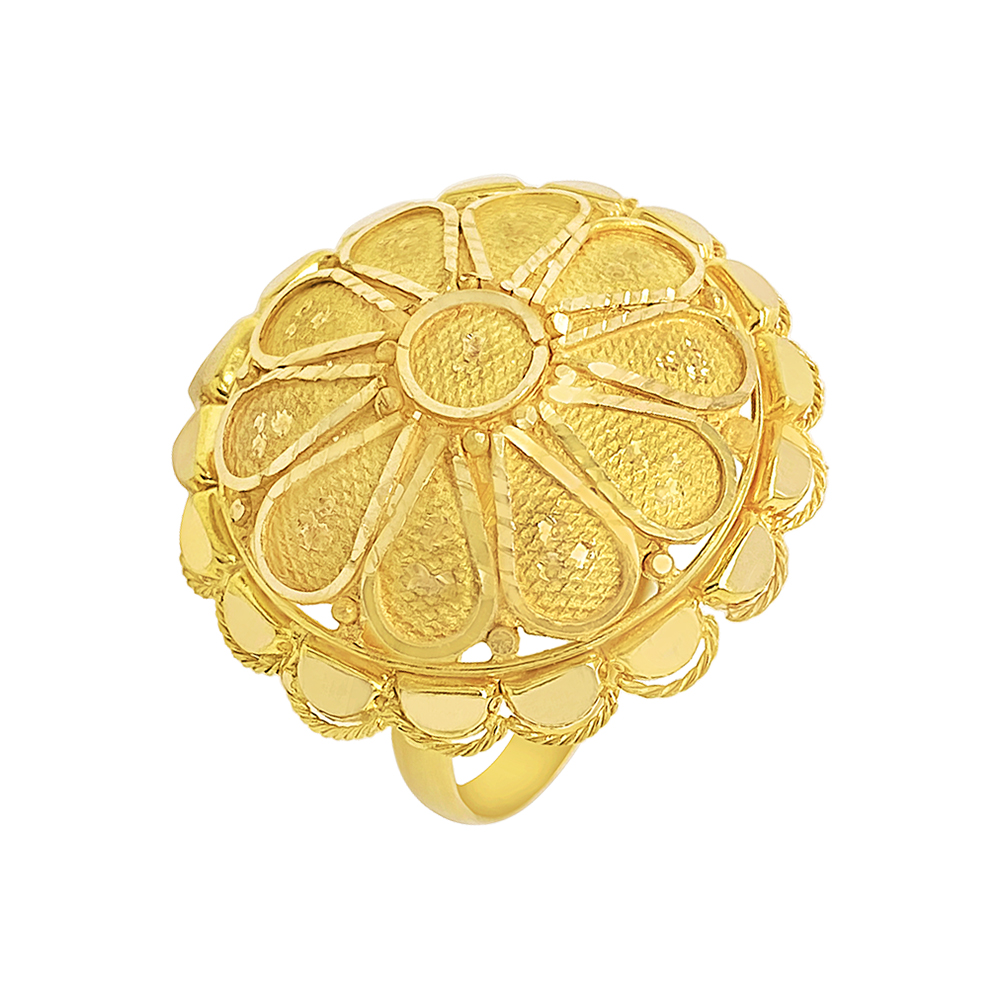 Gold Traditional Textured Floral Gold Pendant RG2950-1.jpg