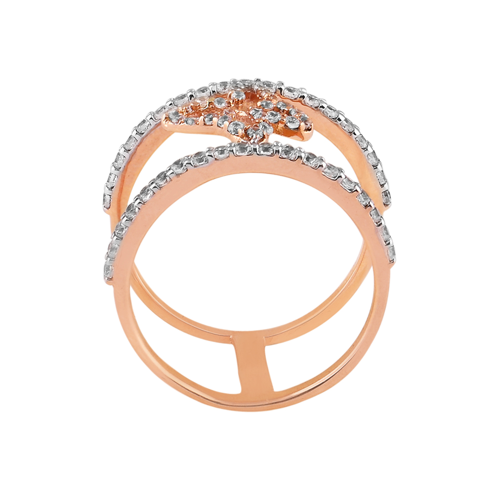 Cubic Zirconia - CZ Rings Glossy Glittering Pave Set CZ Butterfly Rose Ring  RIN32_2.jpg