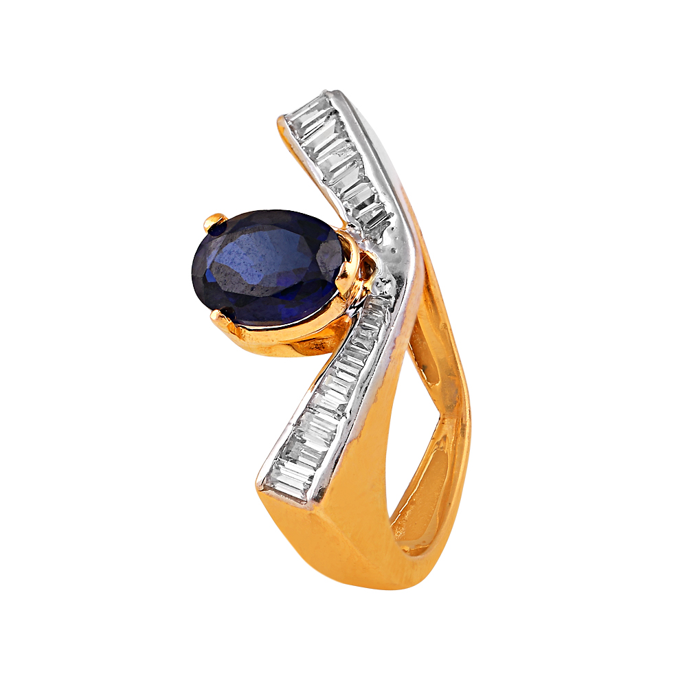 Cubic Zirconia - CZ Rings Glossy Glittering Baguette Cut CZ With Blue Stone Gold Ring  RIN7_1.jpg