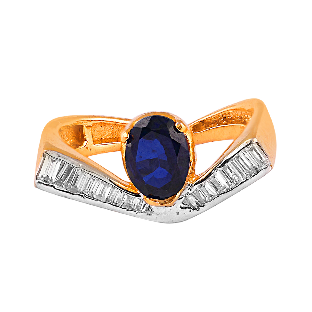Cubic Zirconia - CZ Rings Glossy Glittering Baguette Cut CZ With Blue Stone Gold Ring  RIN7_3.jpg