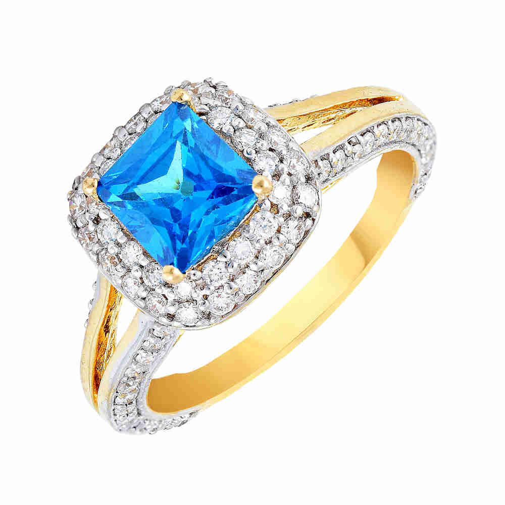 Glittering Halo Design With Colour Stone Studded Diamond Ring