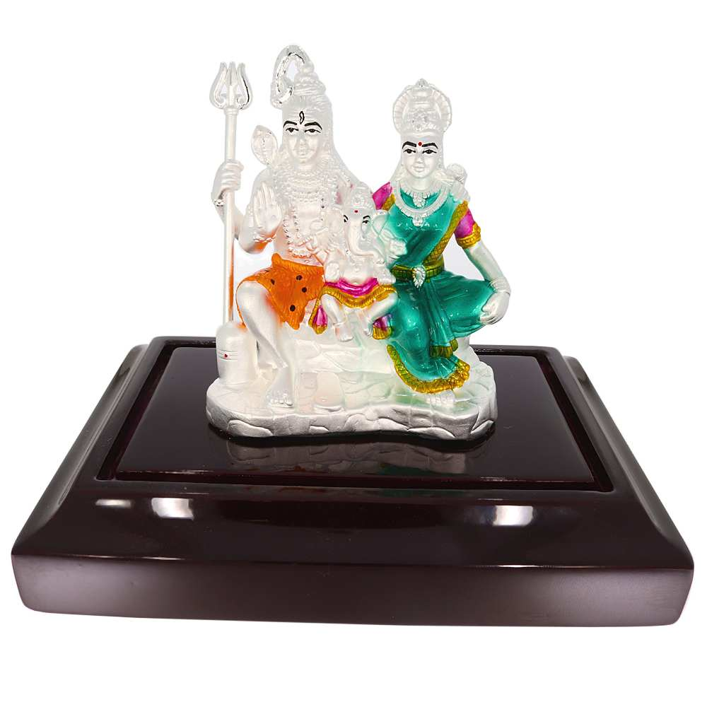 Silver 999 Multi Colour Enamel Lord Shiv Parvati With Ganesha Idol-SIDEJI47