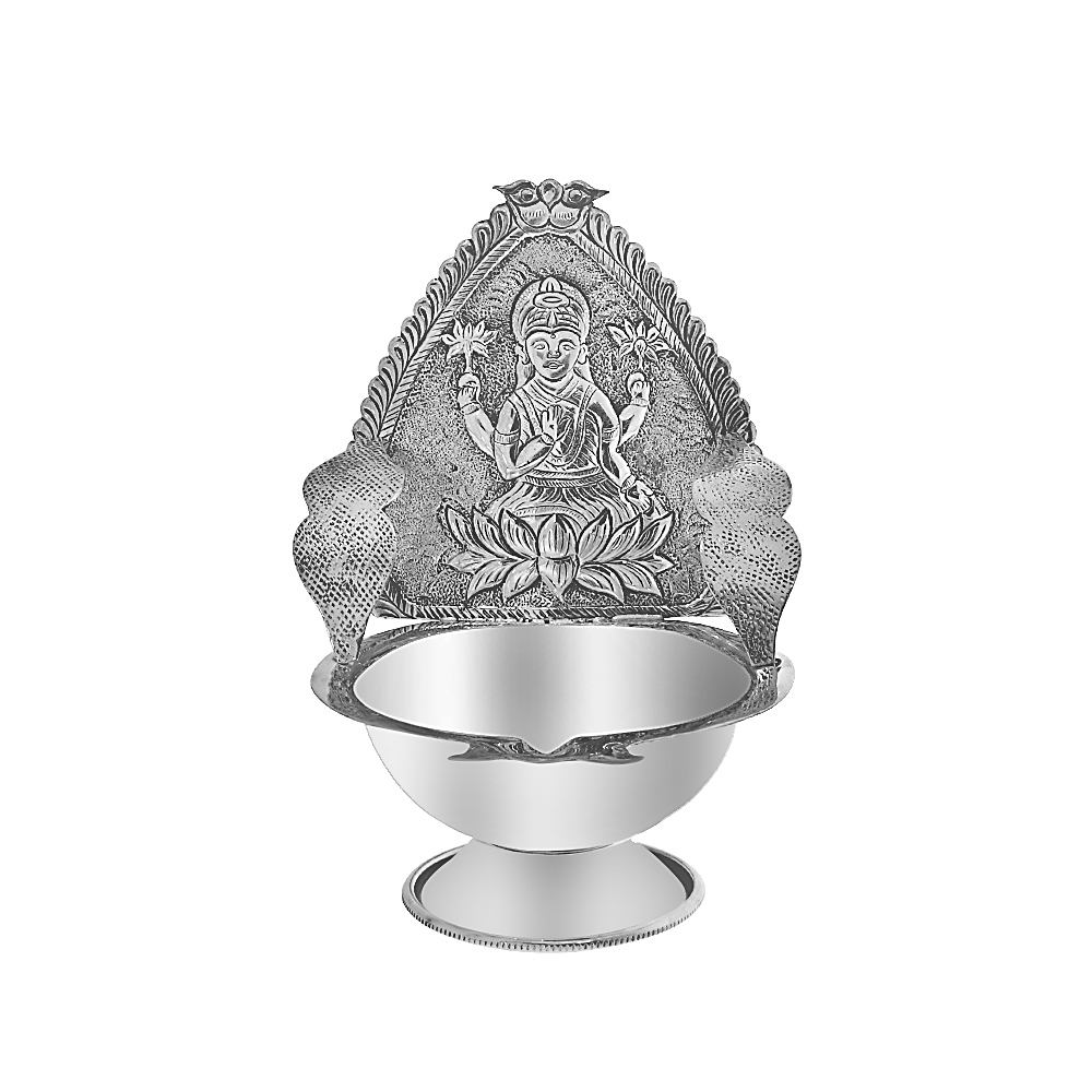 Antique Silver Goddess Maa Lakshmi Lotus Diya