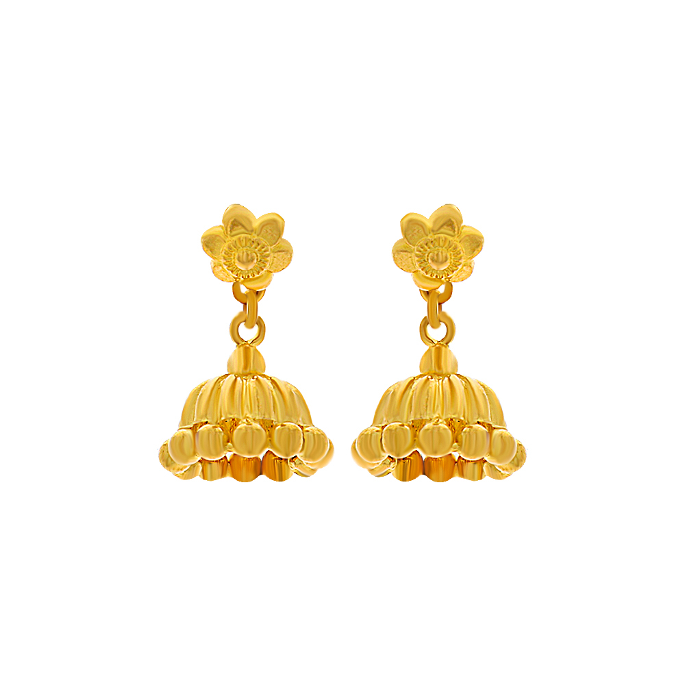 Gold Classical Textured Floral Gold Jhumki ST535891-1.jpg