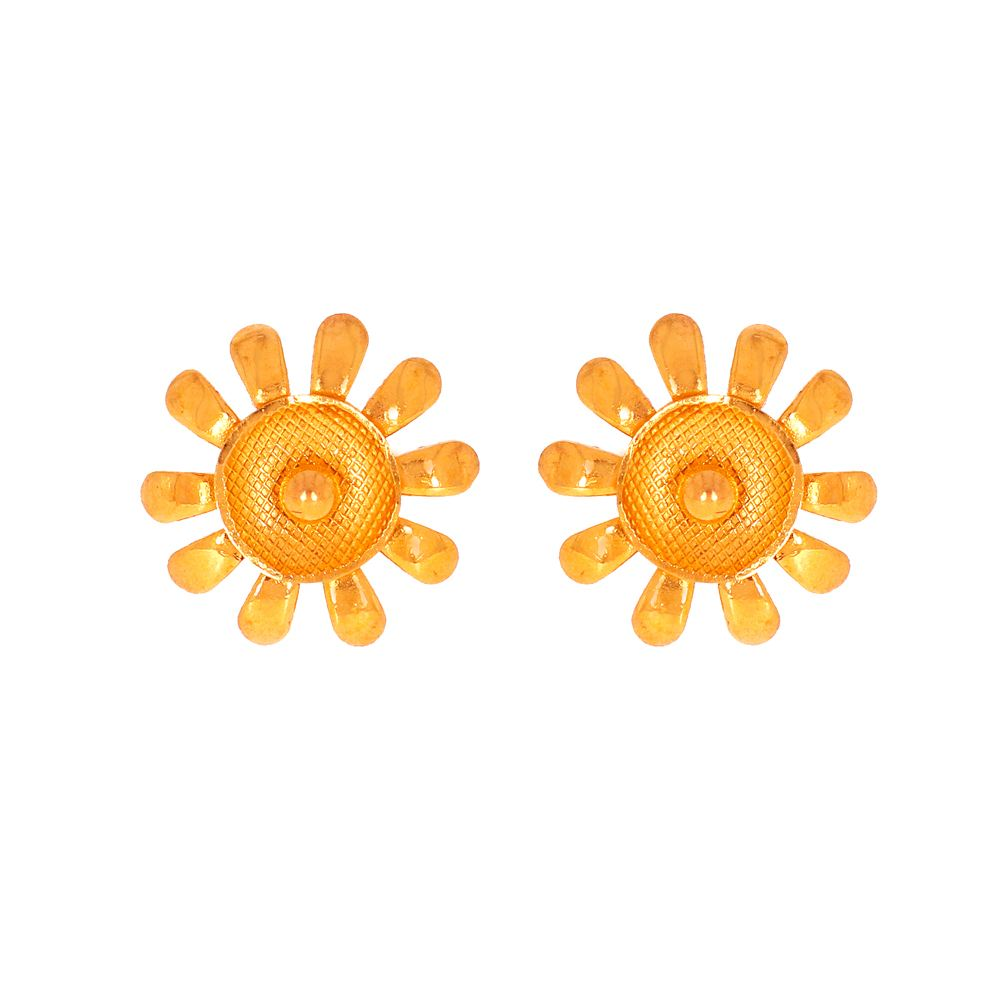 Gold Glossy Finish Diamond Cut Floral Design Gold Earrings TO2089-1_2.jpg