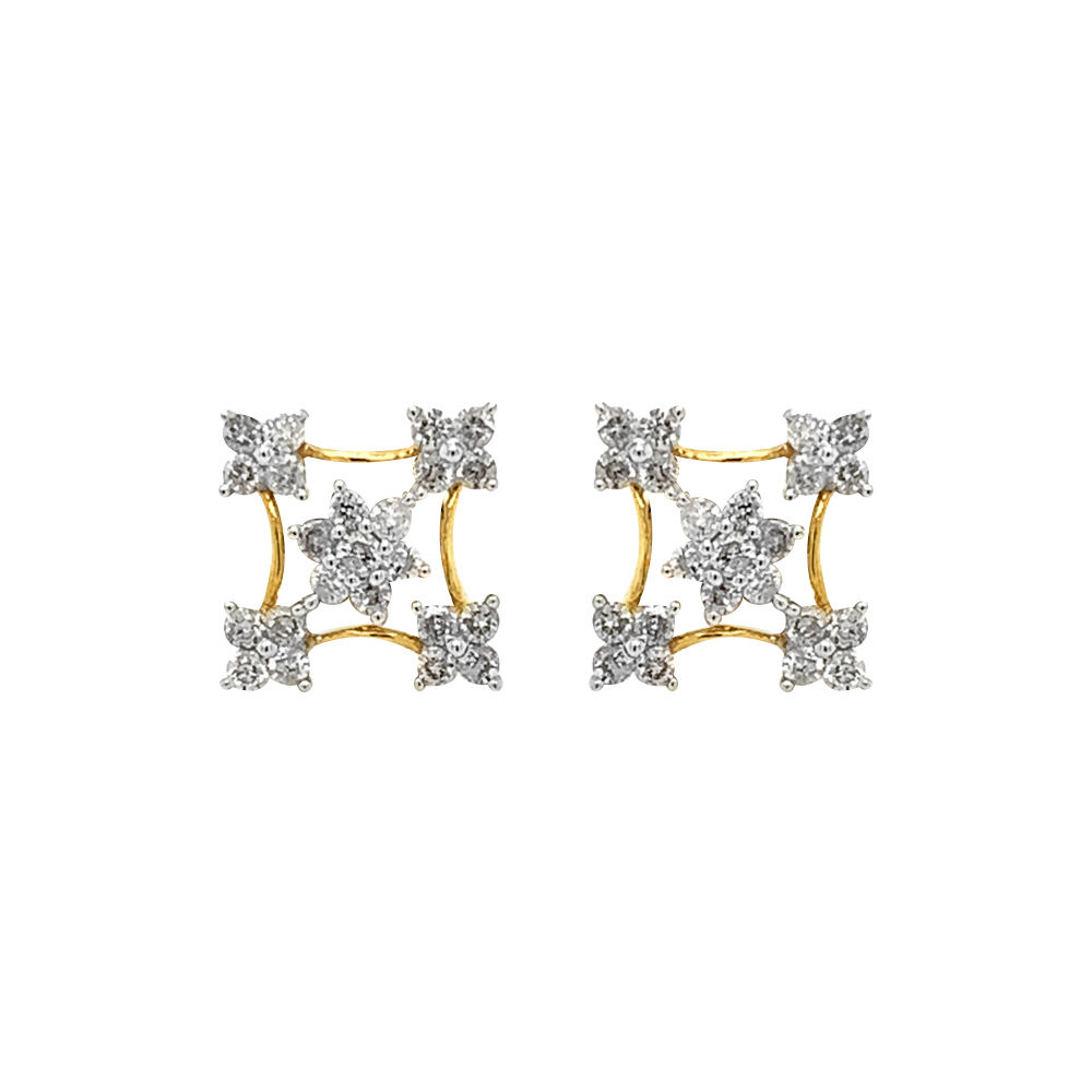 Sparkling Prong Set Floral Design Diamond Earrings