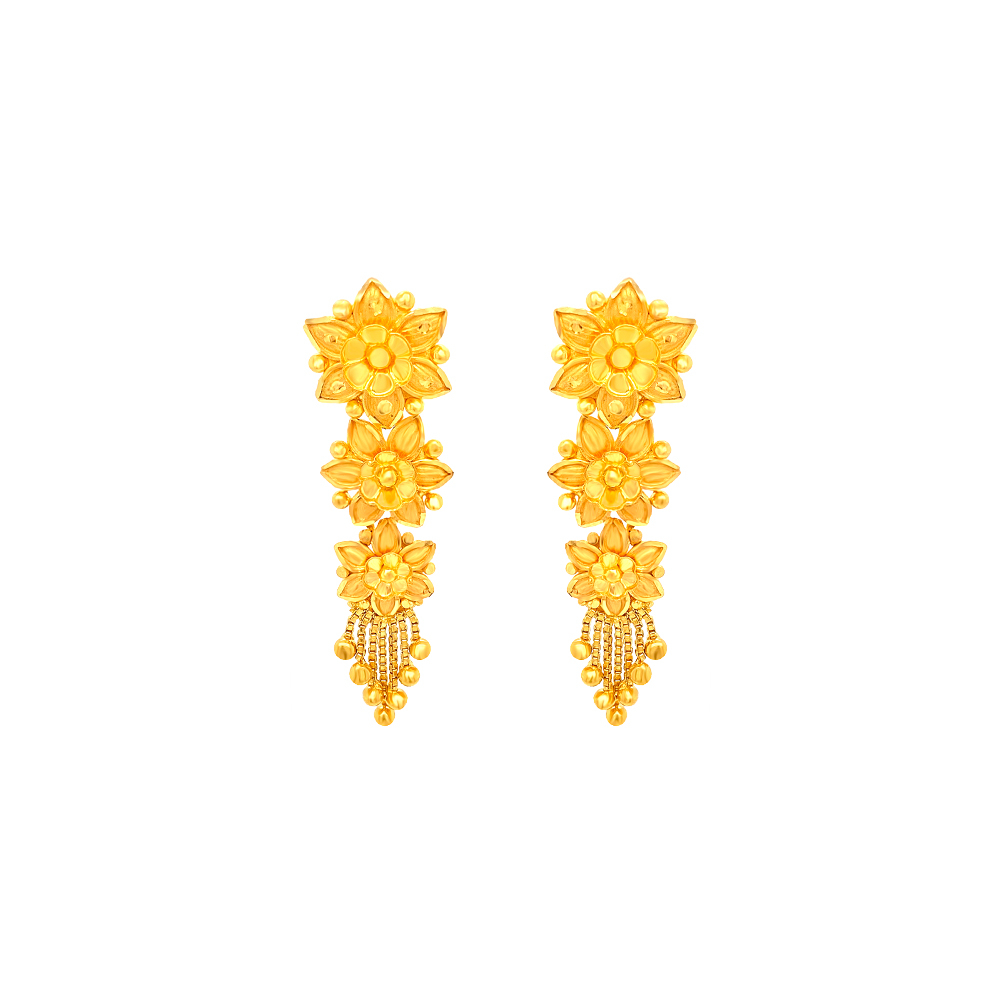 Traditional Textured Floral Dangler Earrings