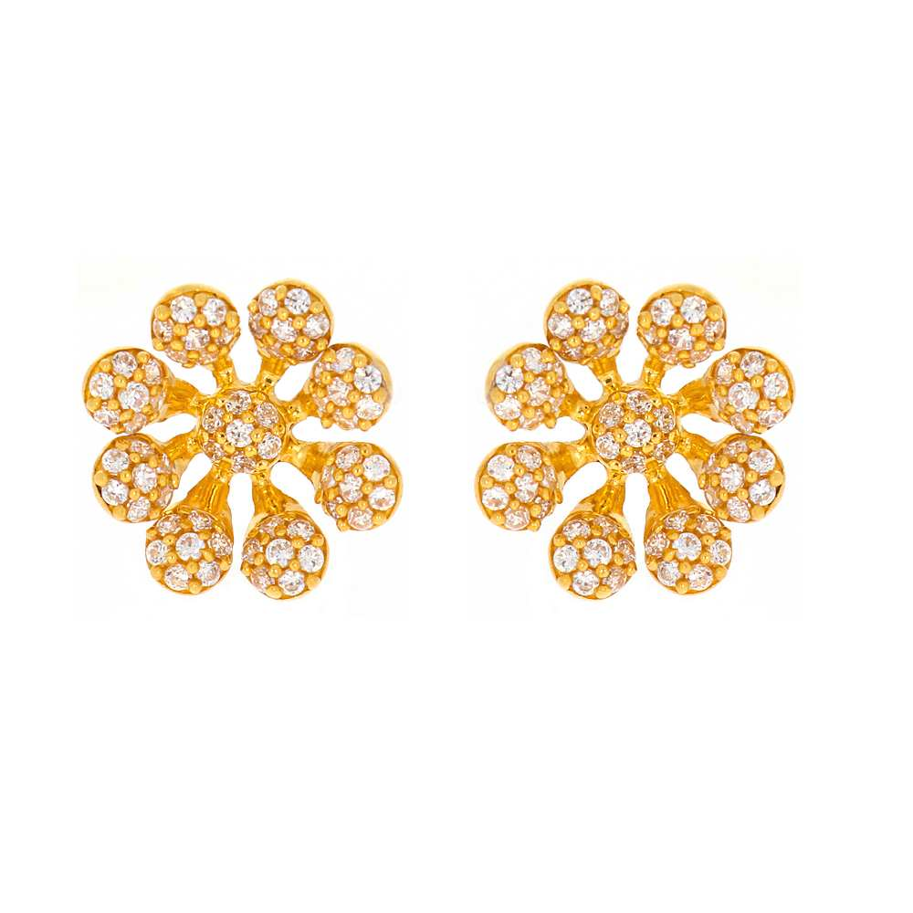 Cubic Zirconia - CZ Glossy Finish Floral Blossom Design With CZ Studded Gold Earrings-TP1462 TP1462-1.jpg