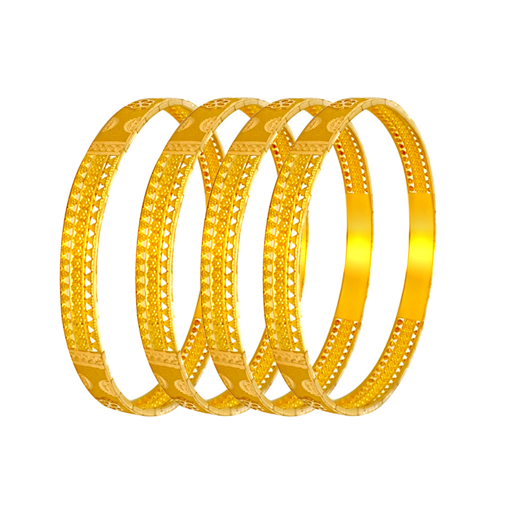 Magnificient Embossed Cutout Gold Bangles (Set Of Four)
