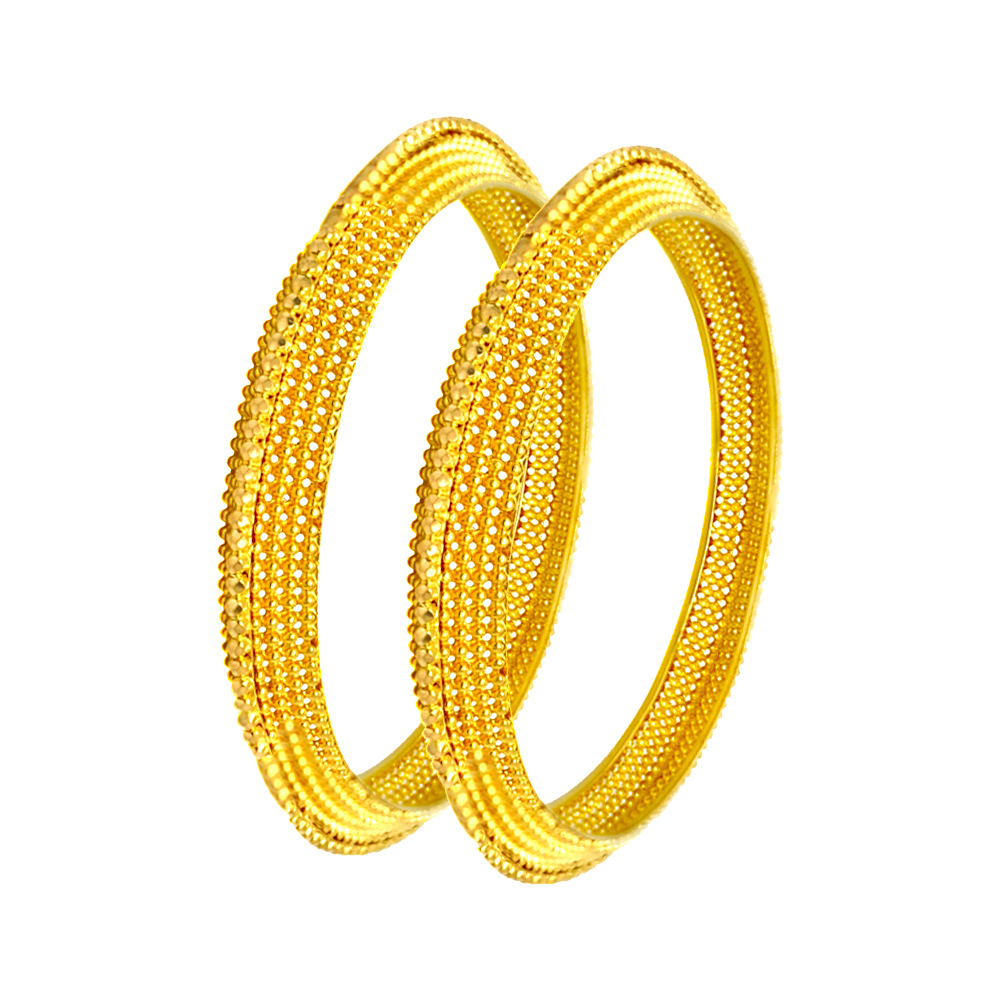 Charming Knife Edge Cutout Gold Bangles (Set Of Two)