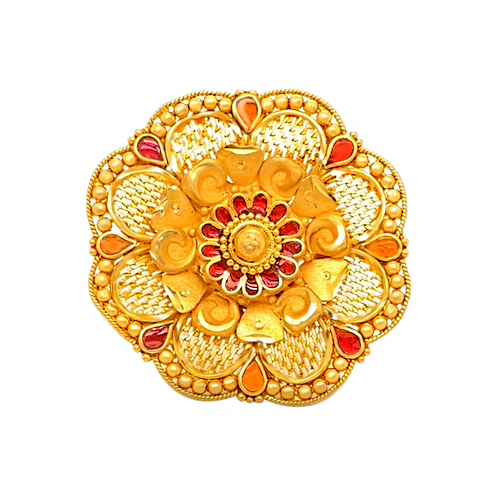 Blossom Floral Enamel Cutout Gold Ring