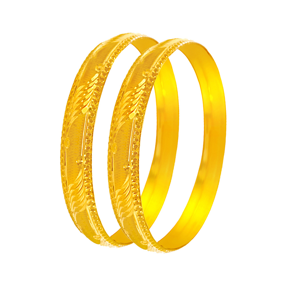 Trendy Layered Textured Gold Bangles (Set Of Two)