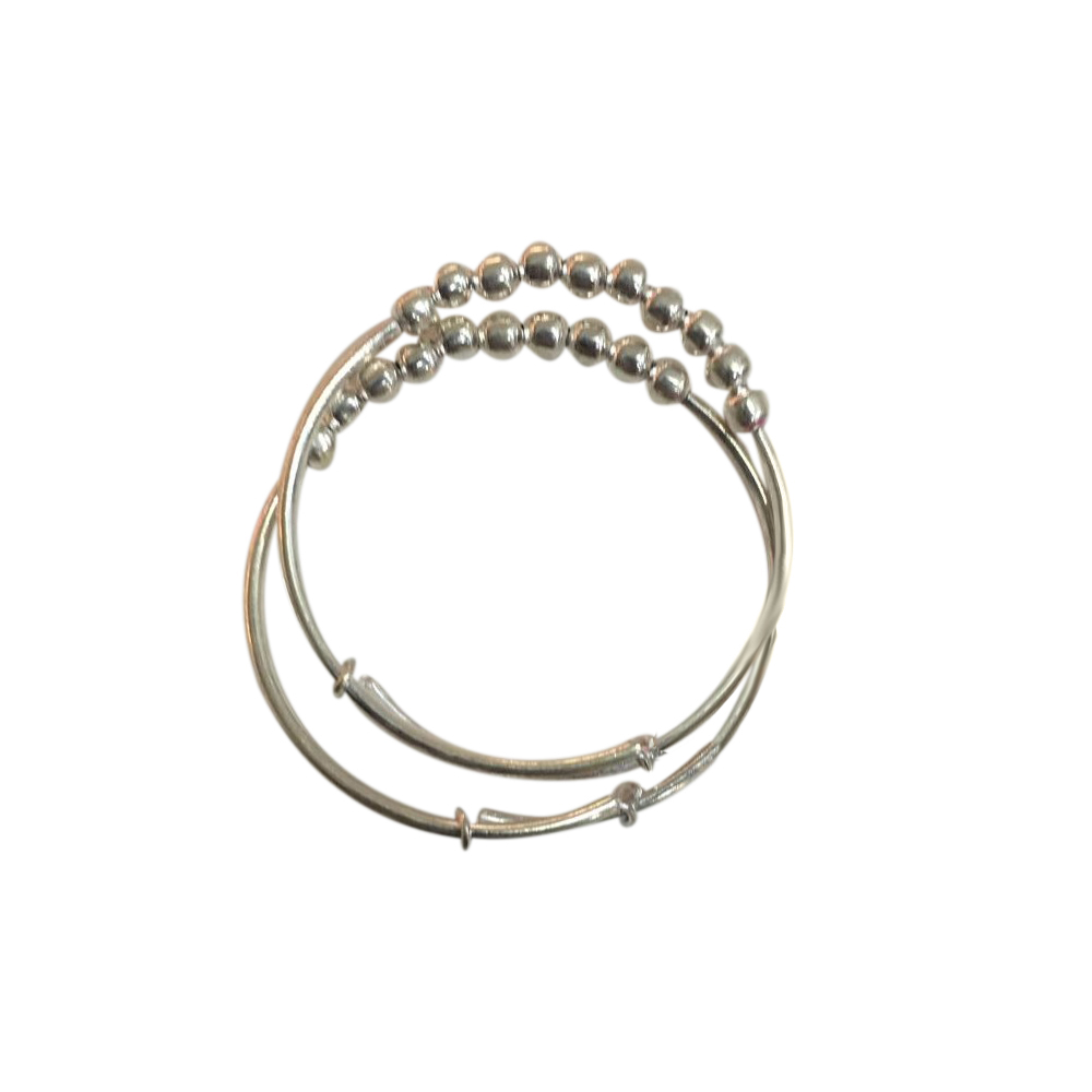 Plain Silver Infant Adjustable Bangle