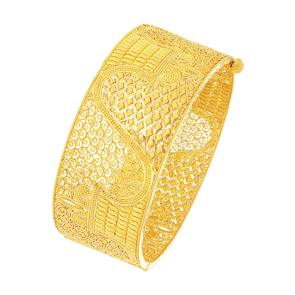 Gold Ceremonial Textured Filigree Openable Cuff Bangle ban25052-1.jpg