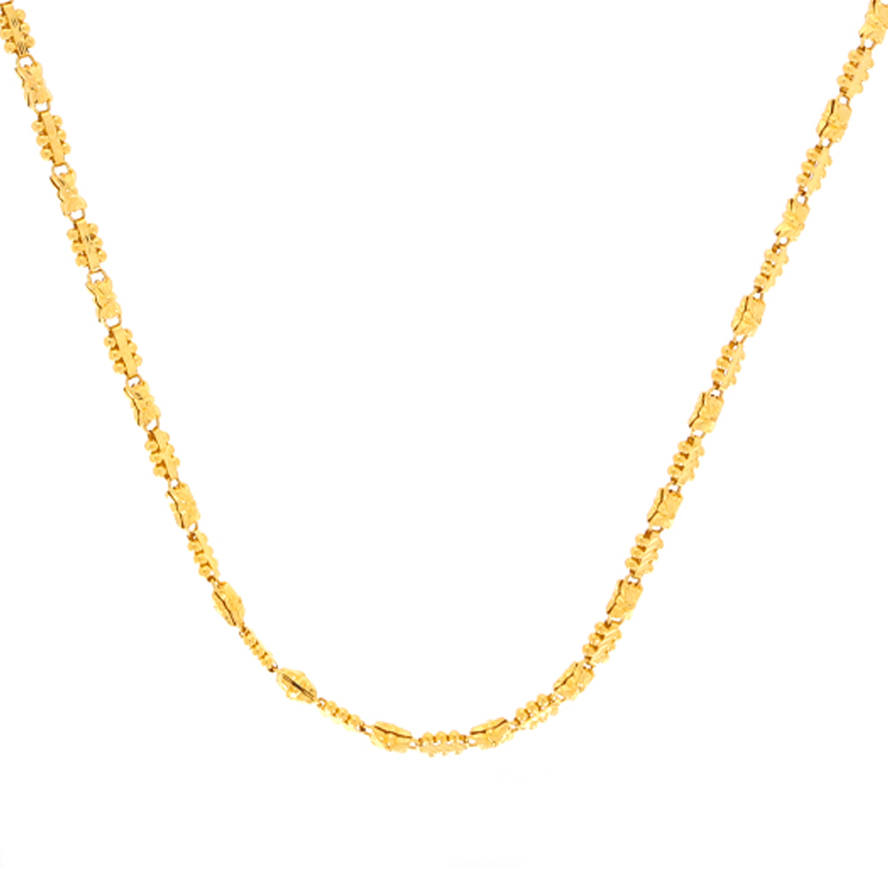 Gold Glosssy Matte Finish Diamond Cut Floral Design With Gold Bead Ball Linked Chain cha1287-2.jpg