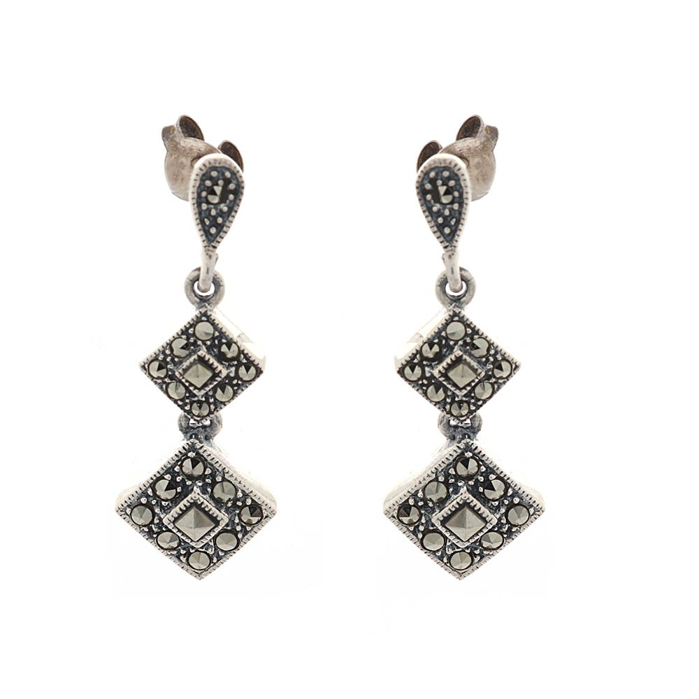 Gemstone Glossy Oxidized Finish Dangler Drop Design Studded With Synthetic Marasite Stone Silver Earrings cls0086-1.jpg