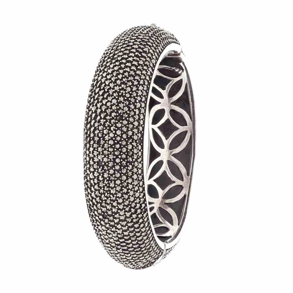 Gemstone Glossy Oxidized Band Design Studded With Synthetic Marcasite Stone Silver Bangles cls0185-1.jpg