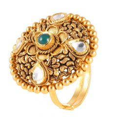 Antique Finish Kundan With Green Ston Studded Embossed Cocktail Gold Ring  - 1-A1410
