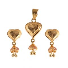 22kt Gold Diamond Cut Heart Pendant Set - 1-A5029