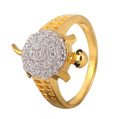 Glittering CZ Turtle Gold Ring - 1068