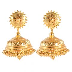 Gold Embossed Antique Gold Jhumka Earrings - 11-A1077