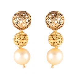 Filligree Antique Gold Drop Earrings With Pearl - 11-A1249