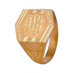 Glossy Finish Diamond Cut OM Textured Mens Gold Ring-11-A2866