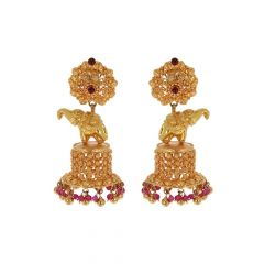 Glossy Elephant Gold Jhumka Earring Design-11-A3815
