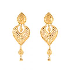 Glossy Finish Calcutta Design Embossed Gold Beads Earring - 11-A40
