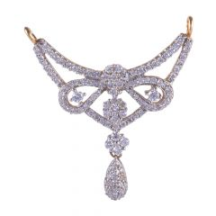 18kt Yellow Gold Drop Diamond Pave Pressure Set Tanmaniya Pendnat - 115-A2155