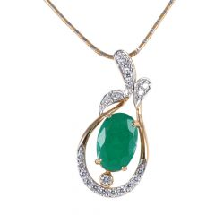 Leaf Shape Diamond Pendant With Synthetic Emerald - 115-A3217