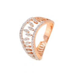 18kt Rose Gold Pave Set Curve Diamond Ring - 117-A11702
