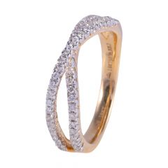 18kt Pave Set Twisted Diamond Ring - 117-A11889