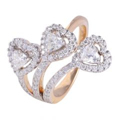 18kt Gold Pave Set Round With Heart Cut Diamond Cocktail Ring - 117-A8390