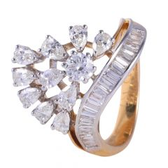18kt Gold Prong Channel Set Multicut Diamond Cocktail Ring - 117-A8392